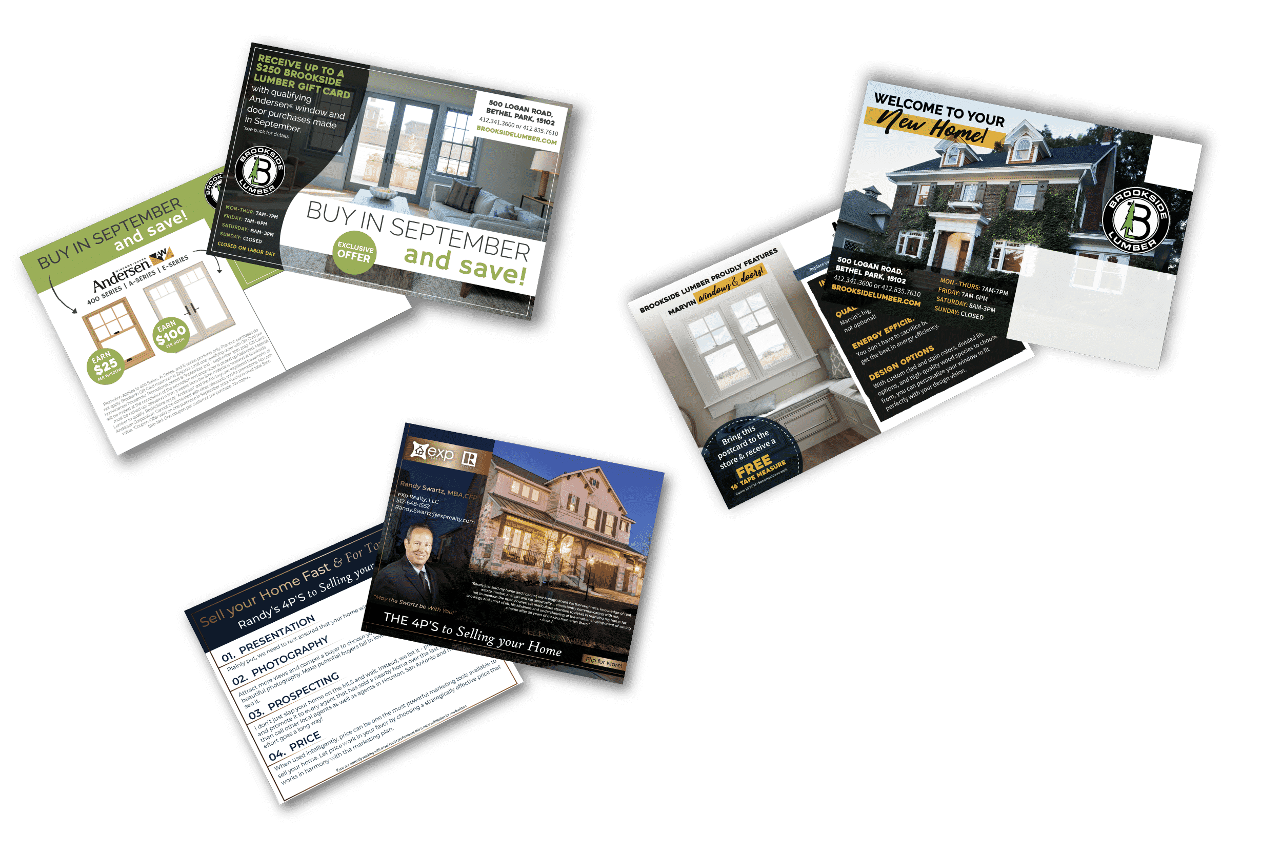 Brookside and HP Starr Lumber direct mail creative