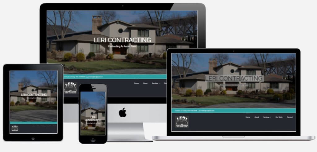 Leri Contracting website mock ups ethic advertising