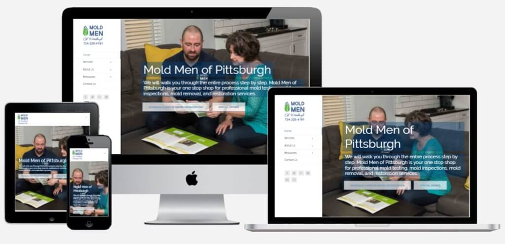 Mold Men of Pittsburgh website mock ups ethic advertising