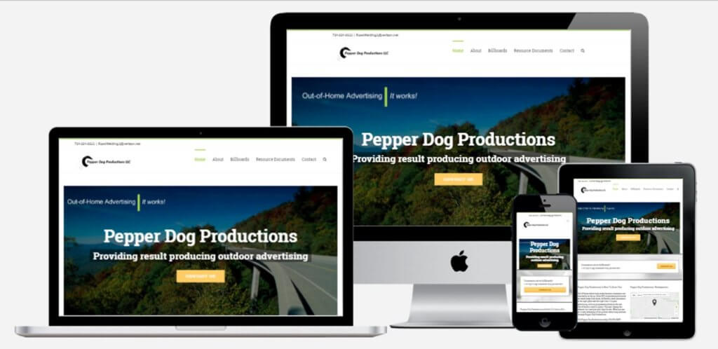 Pepper Dog Productions website mock ups ethic advertising