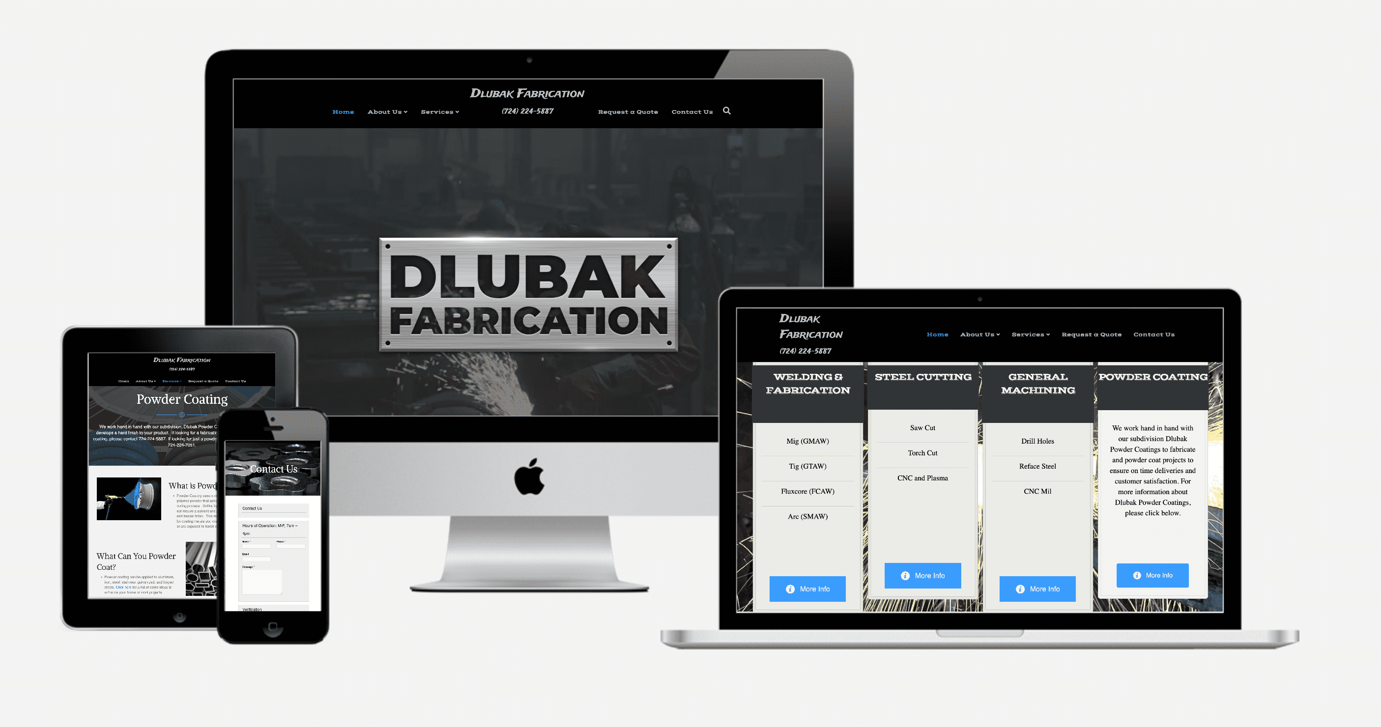 Dlubak Fabrication website mockups on devices