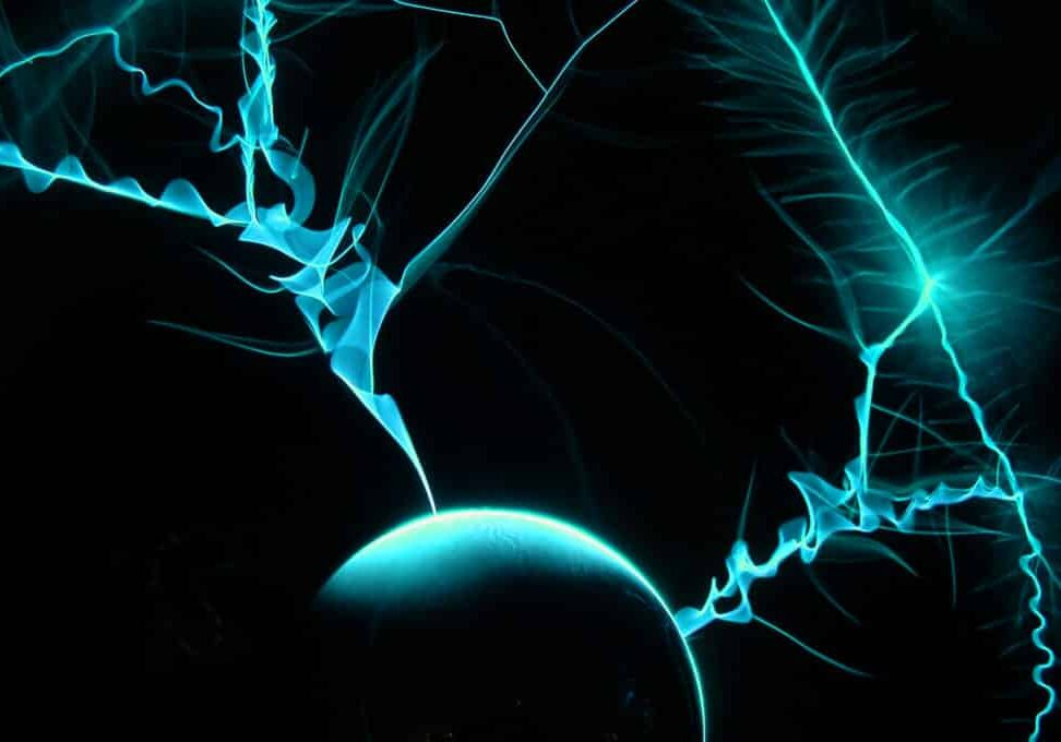 blue ethic advertising agency electricity and ball on black background