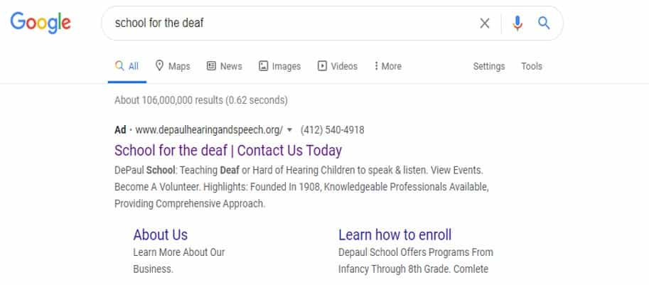 depaul google grant adword search