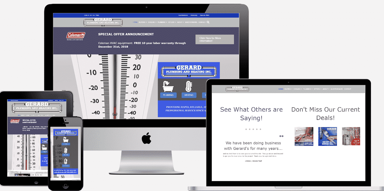 Gerard Plumbing adn Heating website development
