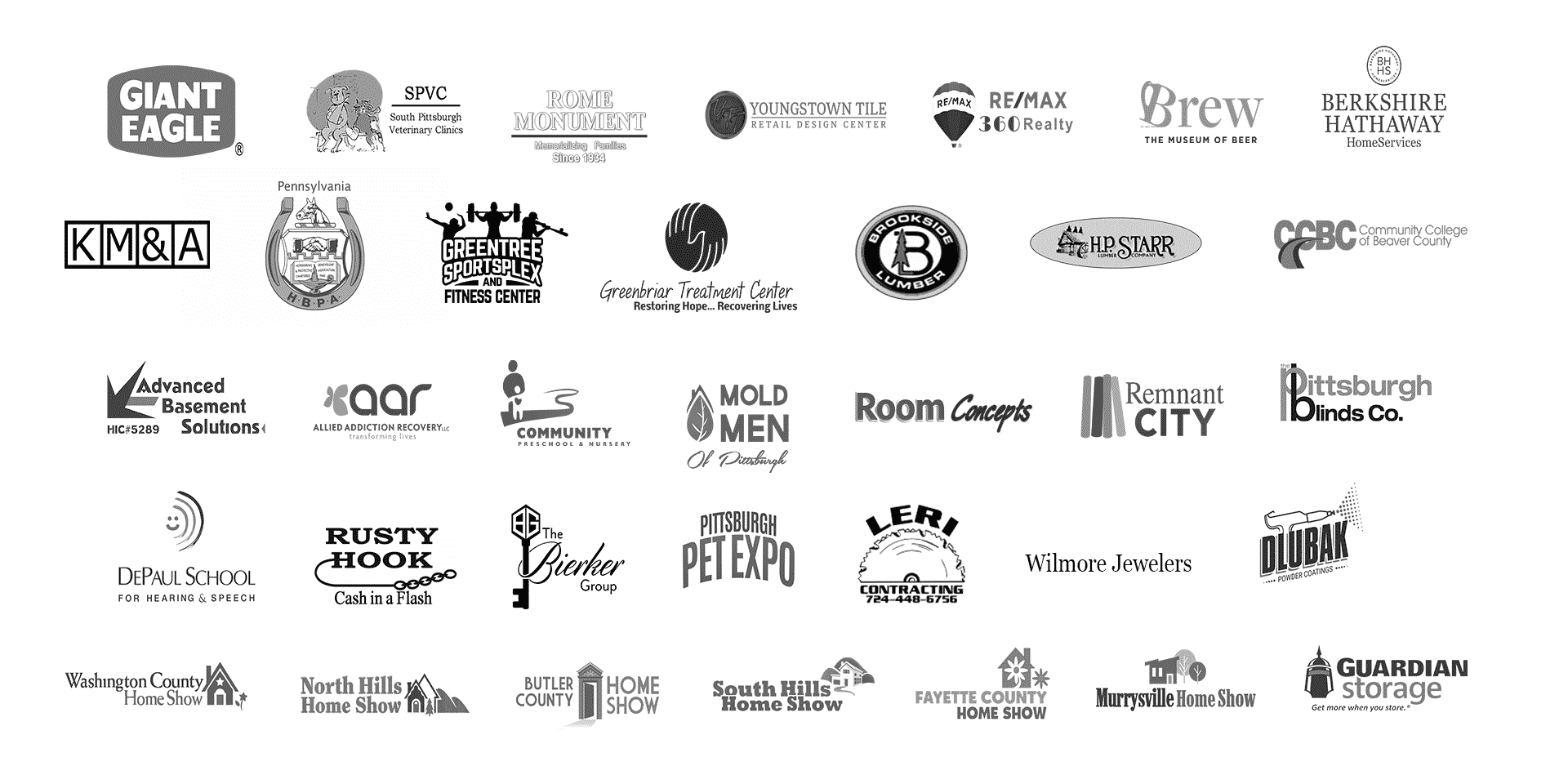 greyed out client logos