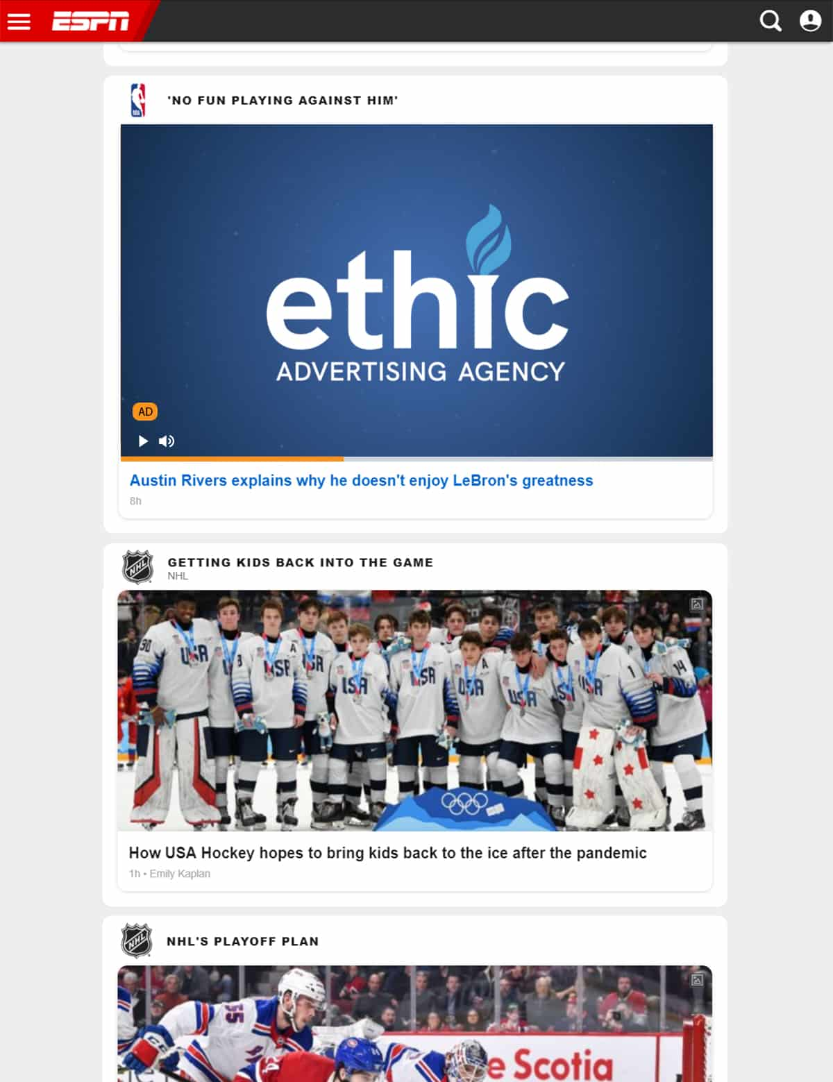 iPad video Pre-Roll mockup for ethic advertising agency