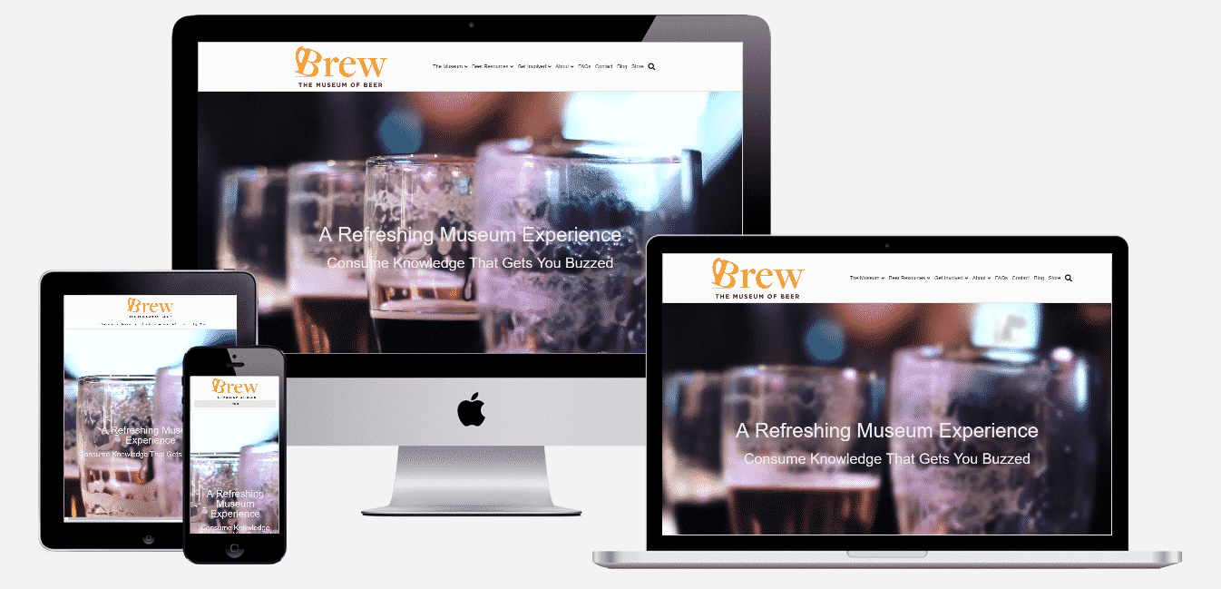 Brew Museum of Beer website mockups on devices